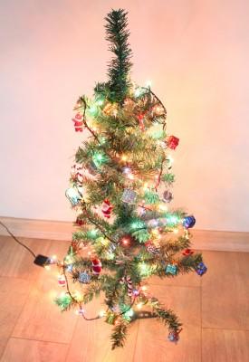 Yılbaşı Ağacı Seti 90cm Çam Ağacı 100lü Işıklandırma 36 Adet Süs - Thumbnail