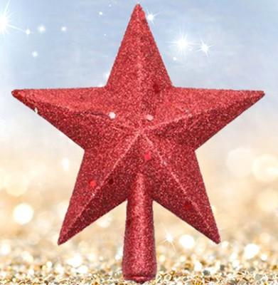 Diğer - Yılbaşı Ağacı Tepe Süsü Simli Yıldız Kırmızı