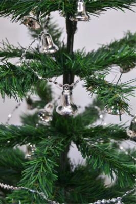 Diğer - Yılbaşı Ağacı Zincirli Çan Süsü 2,5mt Gümüş