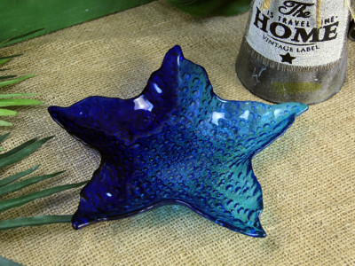 Diğer - Yıldız Çift Renk Cam İkramlık Tabak 26cm Lacivert