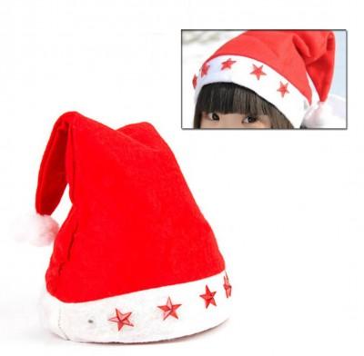 Diğer - Yıldız Ledli Işıklı Kırmızı Keçe Yılbaşı Şapkası