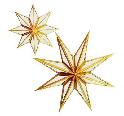 Diğer - Yıldız Şeklinde Aynalı Dekoratif Duvar Süsü 30cm Gold