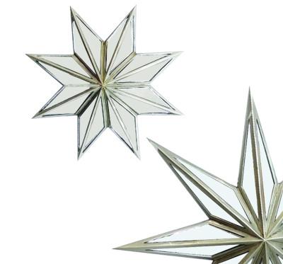 Diğer - Yıldız Şeklinde Aynalı Dekoratif Duvar Süsü 30cm Gümüş