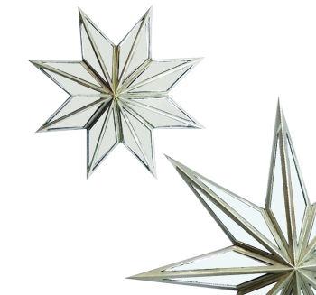 Yıldız Şeklinde Aynalı Dekoratif Duvar Süsü 30cm Gümüş