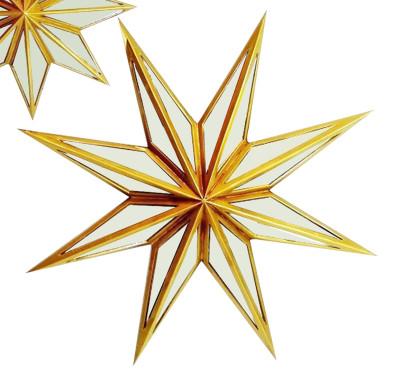 Diğer - Yıldız Şeklinde Aynalı Dekoratif Duvar Süsü 52cm Gold