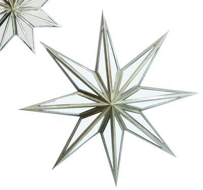 Diğer - Yıldız Şeklinde Aynalı Dekoratif Duvar Süsü 52cm Gümüş