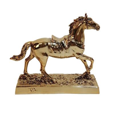 Diğer - Yürüyen At Kaplama Dekoratif Biblo 24cm Gold