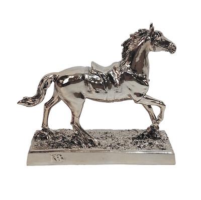Diğer - Yürüyen At Kaplama Dekoratif Biblo 24cm Gümüş