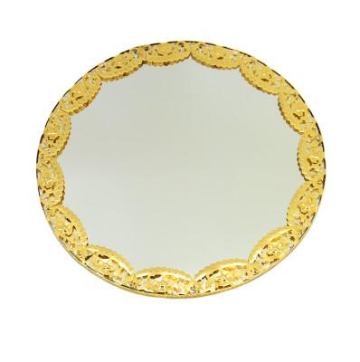 Diğer - Yuvarlak Aynalı Supla ve Yüzük Tepsisi Gold