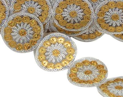 Diğer - Yuvarlak Pullu İşlemeli Dekoratif Şerit Kurdele Gold 5cmx10mt