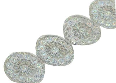 Diğer - Yuvarlak Pullu İşlemeli Dekoratif Şerit Kurdele Gümüş 5cmx10mt