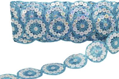 Diğer - Yuvarlak Pullu İşlemeli Dekoratif Şerit Kurdele Mavi 5cmx10mt