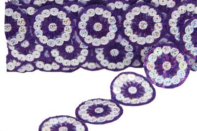 Diğer - Yuvarlak Pullu İşlemeli Dekoratif Şerit Kurdele Mor 5cmx10mt