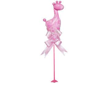 Zürafa Figürlü Parti Masa Süsü Çubuklu Folyo Balon Pembe
